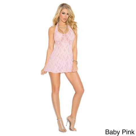 Elegant Moments Women's Lace Halter Mini Dress in One Size.