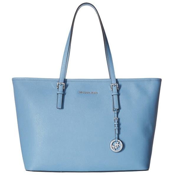 f857dd614d7e Shop Michael Kors Jet Set Medium Sky Blue Saffiano Leather Tote Bag ...