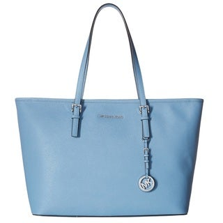 Michael Kors Jet Set Medium Sky Blue Saffiano Leather Tote Bag