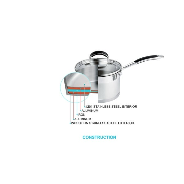 Prime Cook Stainless Steel 3-quart Stock Pot with Glass Lid. Opens flyout.