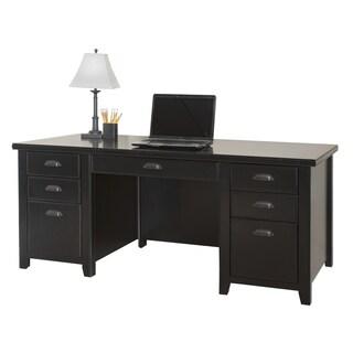 Tansley Landing Black Double Pedestal Executive Desk