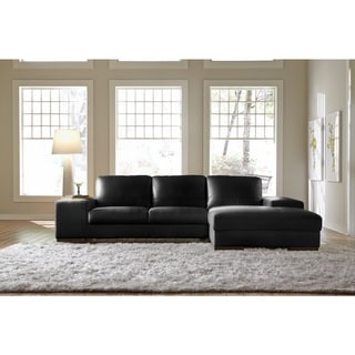 Nice Lazzaro Leather Sussex Black Sectional Sofa