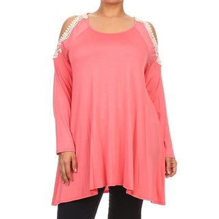 MOA Collection Women's Plus Size Top with Crochet Lace Shoulders