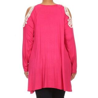 MOA Collection Women's Plus Size Top with Crochet Lace Shoulders