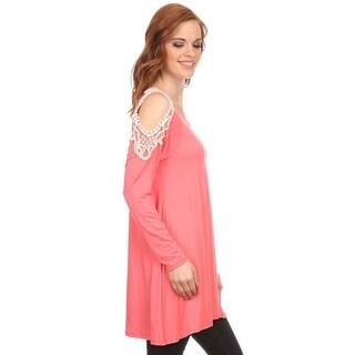 MOA Collection Women's Crochet Lace Shoulder Top