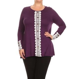 MOA Collection Women's Plus Size Crochet Panel Top