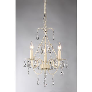 Lorraine 3-light White-finish 14-inch Crystal Chandelier