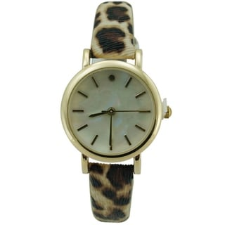 Women's Animal Print Faux Leather Strap MOP Round Dial Watch
