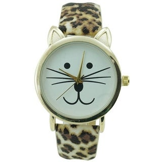 Womens Gold Faux Leather Strap Cat Face Watch