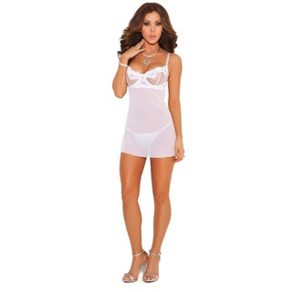 Elegant Moments women's embroidered mesh babydoll and g-string (4 options available)