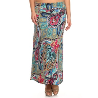 MOA Collection Women's Plus Size Paisley Maxi Skirt