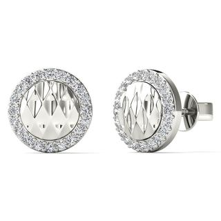 10k White Gold 1/8ct TDW Diamond Round Stud Earrings (H-I, I1-I2)
