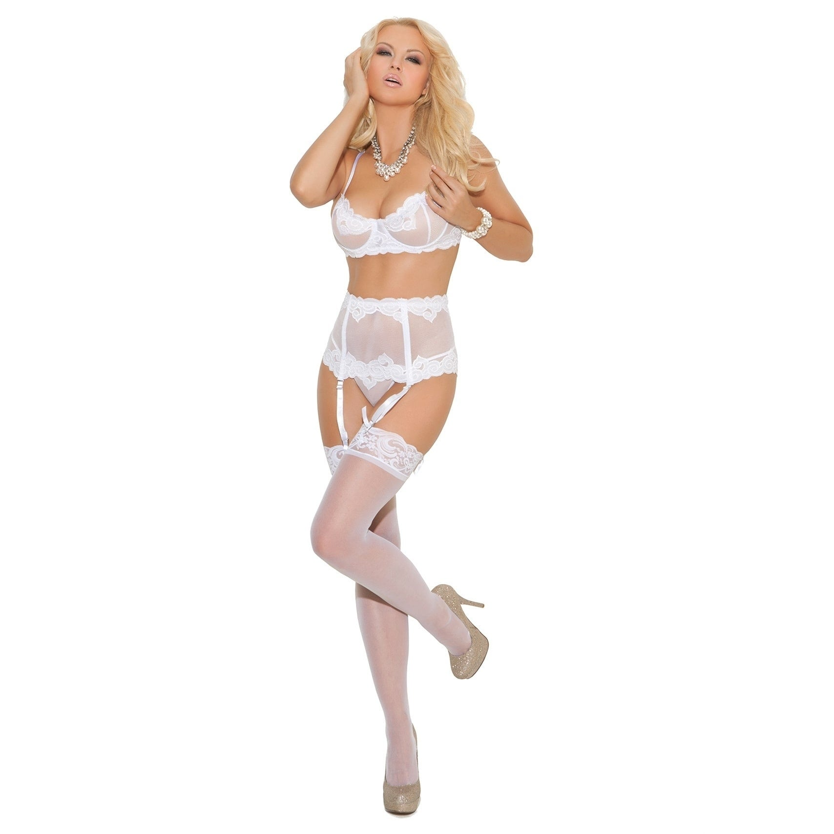 Elegant Moments Women's Embroidered Mesh Set (White - M)