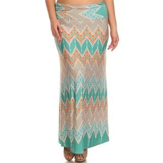 MOA Collection Women's Plus Size Designed Maxi Skirt