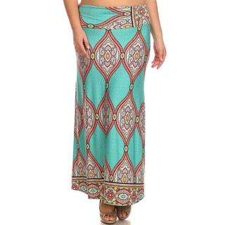 MOA Collection Women's Plus Size Ornamental Maxi Skirt