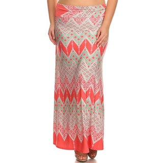 MOA Collection Women's Plus Size Mixed Chevron Maxi Skirt