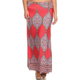 MOA Collection Women's Plus Size Coral Ornamental Maxi Skirt