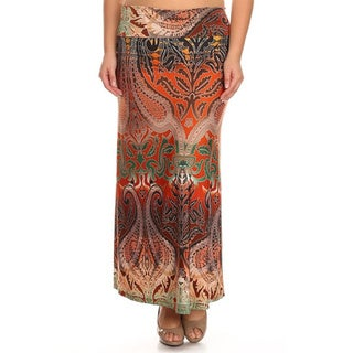 MOA Collection Women's Plus Size Fiery Maxi Skirt