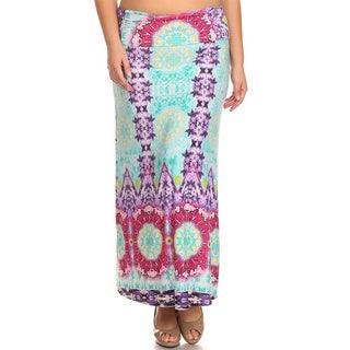 MOA Collection Women's Plus Size Sun Style Maxi Skirt