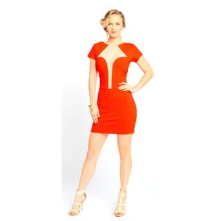 Sara Boo Women's Red Deep Pluge Mesh Neckline Bodycon Dress|https://ak1.ostkcdn.com/images/products/11193555/P18184346.jpg?impolicy=medium