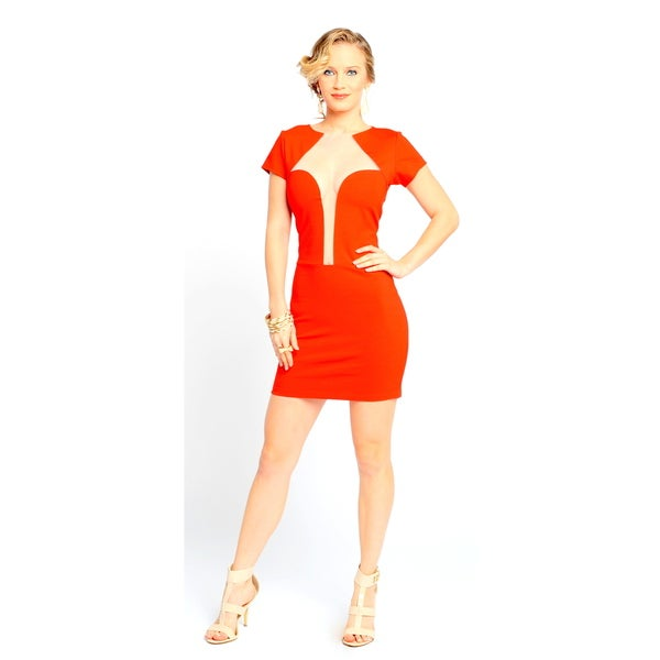 Sara Boo Women's Red Deep Pluge Mesh Neckline Bodycon Dress
