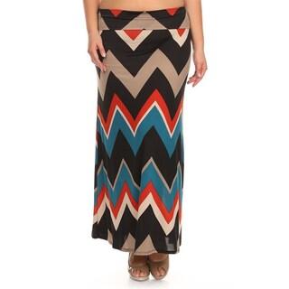 MOA Collection Women's Plus Size Chevron Striped Skirt