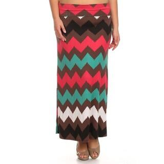 MOA Collection Women's Plus Size Multi Chevron Maxi Skirt