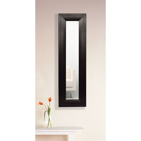 American Made Rayne Espresso Leather Wall Mirror