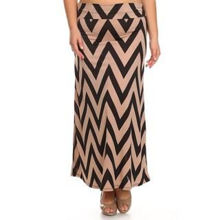 MOA Collection Women's Plus Size Black and Khaki Chevron Skirt
