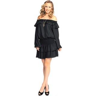 Sara Boo Women's Black Romantic Ruffled Dress