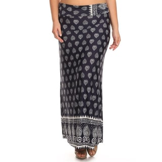 MOA Collection Women's Plus Size Pattern Print Maxi Skirt
