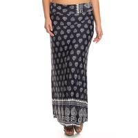 MOA Collection Women's Plus Size Pattern Print Maxi Skirt