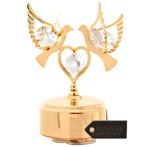 24k Goldplated Matashi Crystal Double Doves Music Box
