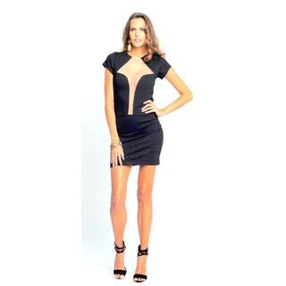 Sara Boo Women's Black Deep Plunge Mesh Neckline Bodycon Dress