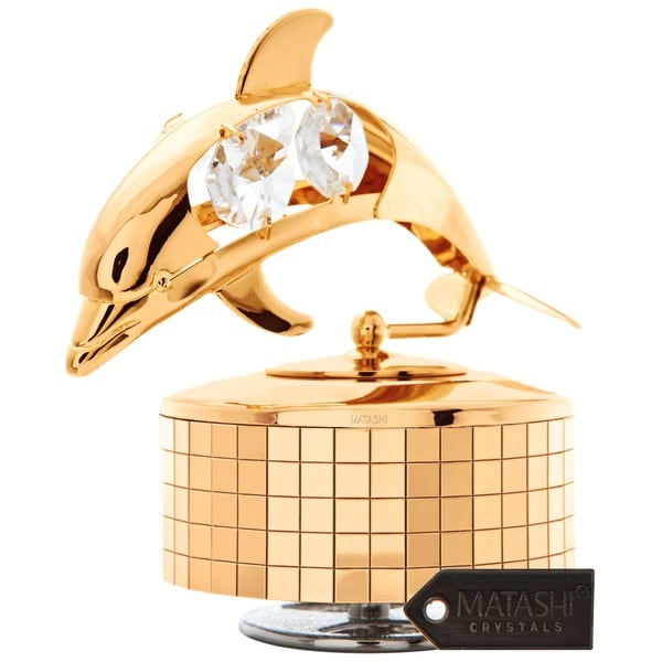 24k Goldplated Matashi Crystal Dolphin Music Box
