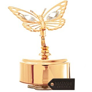 Goldplated Matashi Crystals Butterfly Music Box