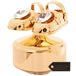 Goldplated Matashi Crystals Baby Shoes Music Box