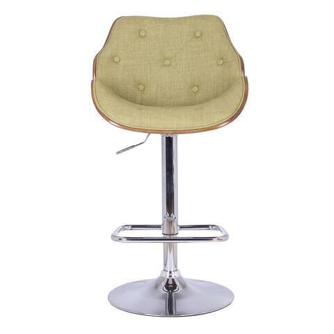 Adeco Yellowgreen Adjustable Plywood Barstool With Fabric And Button