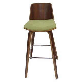 Adeco Wood Frame, Green Seat Bar Stools