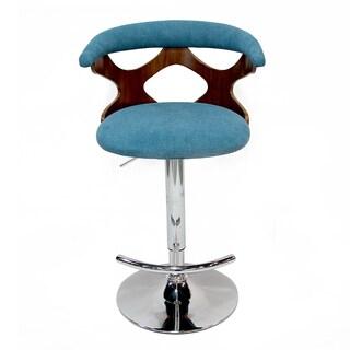 Adeco Blue Adjustable Plywood Barstool With Fabric