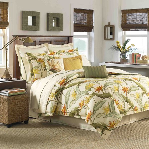 Green White Orange Twin Quilt Set Tropical Palm Tree Floral Themed Bedding