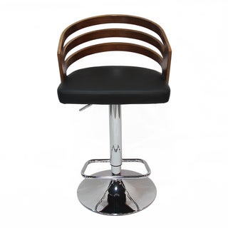 Adeco Adjustable Barstool Chair With Black PU