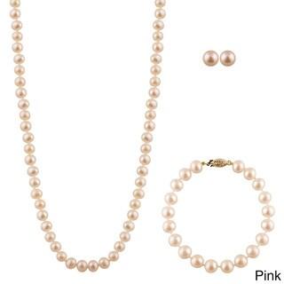 14k Gold Freshwater Pearl 2-piece Set