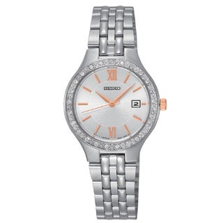 Seiko Ladies SUR759 Stainless Steel Silver Tone Water Resistant Watch with Austrian Crystals