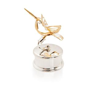24k Gold and Silverplated Matashi Crystals Hummingbird Jewelry Box