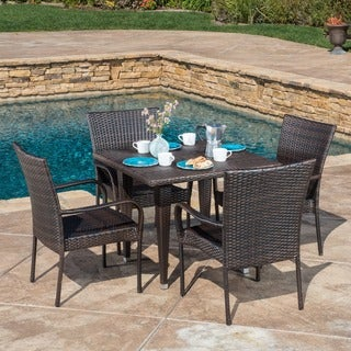 Outdoor Delani 5 Piece Wicker Dining Set By Christopher Knight Home