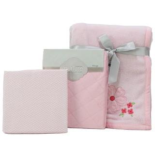 Nurture Pink Floral Nursery Plush Blanket, Changing Pad Cover and Chevron Crib Sheet Set