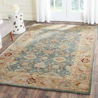 Safavieh Handmade Antiquity Teal Blue/ Taupe Wool Rug (4' x 6')