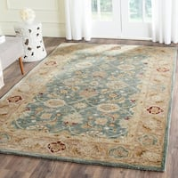 Safavieh Handmade Antiquity Teal Blue/ Taupe Wool Rug - 4' x 6'