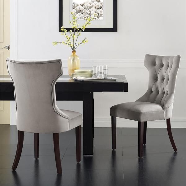 Dorel Living Clairborne Taupe Tufted Dining Chair Set of 2